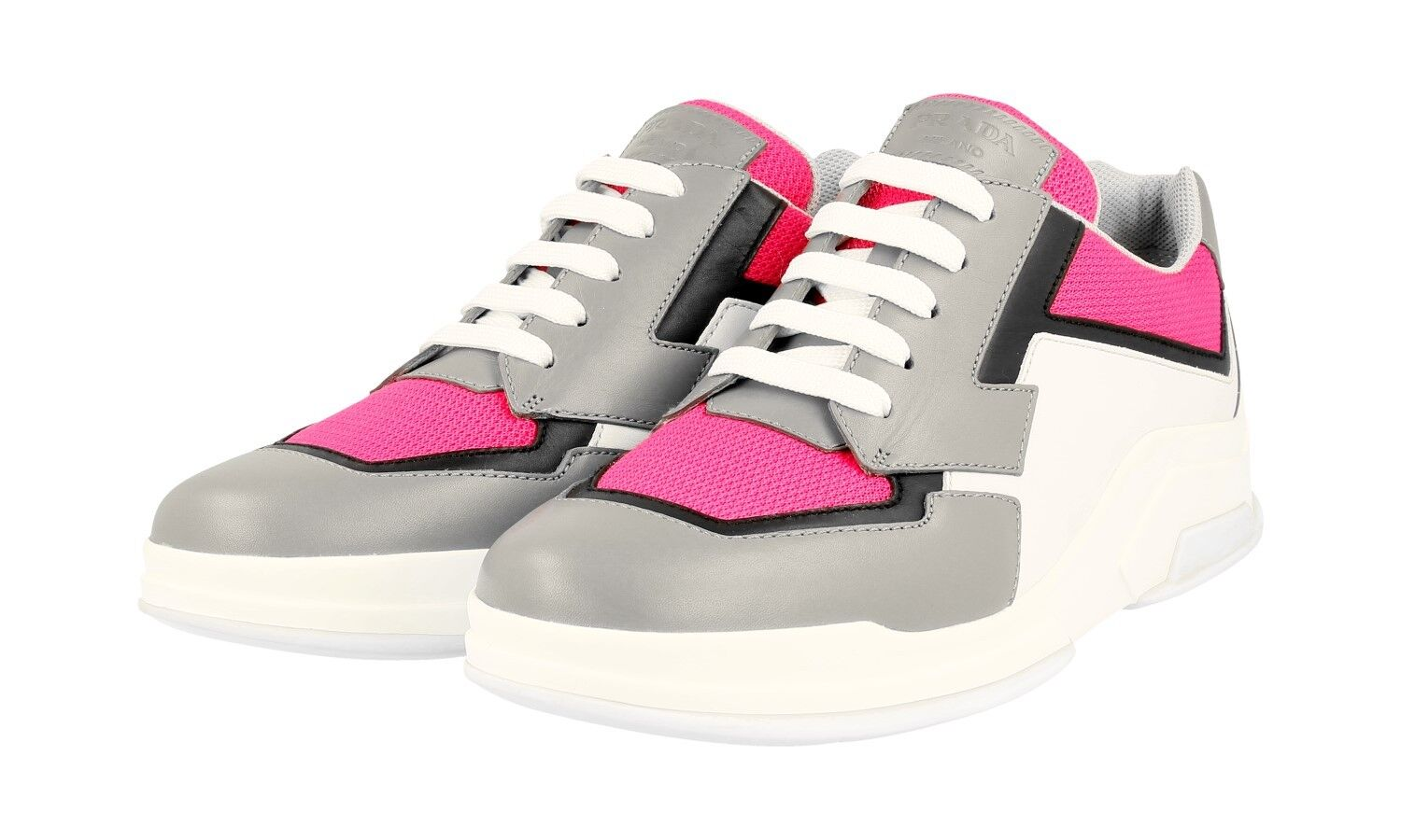AUTH LUXURY PRADA SNEAKERS SHOES 3E5964 GREY PINK NIB US 11 EU 41 41,5 UK 8
