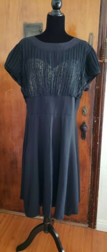 Vintage 1940s 1950s Black Rayon Crepe and Lace Plu