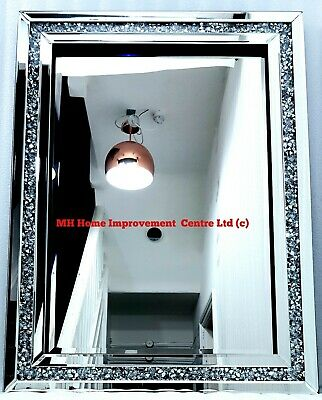 Crushed Crystal Mirror Glass Wall Photo Frame 4 Picture Diamonte Sparkly Silver