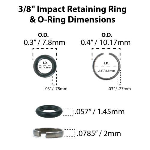 "3//8/"" Impact Wrench Retaining Ring Clip with O-Ring Matco Craftsman IR Mac-2 Sets"