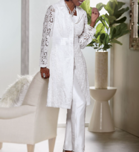 size 6 White Lace Pant Suit Set wedding church Easter by Ashro new