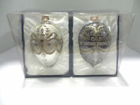 Large Hand-decorated Glass Ornaments 2-pack Gold/purple