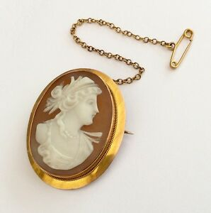 Fabulous-Ladies-Antique-9Ct-Gold-Cameo-Brooch-With-Safety-Chain