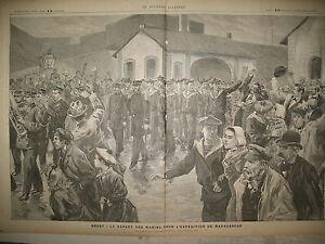 BRETAGNE-BREST-DEPART-MARINS-POUR-MADAGASCAR-GRAVURES-LE-JOURNAL-ILLUSTRe-1895