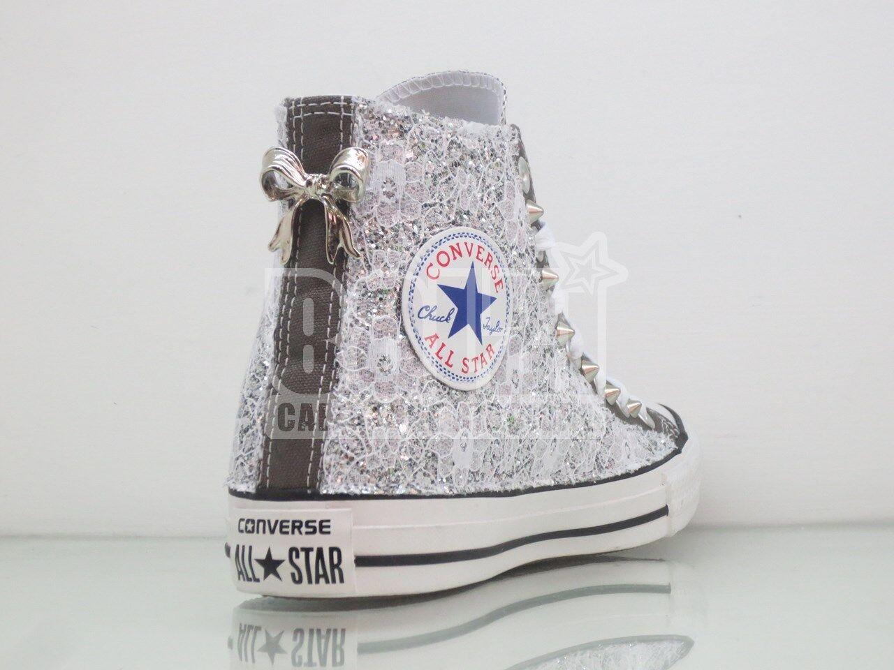 Moda barata y hermosa Converse all star grigio charcoal pizzo glitter  borchie fiocco artigianali