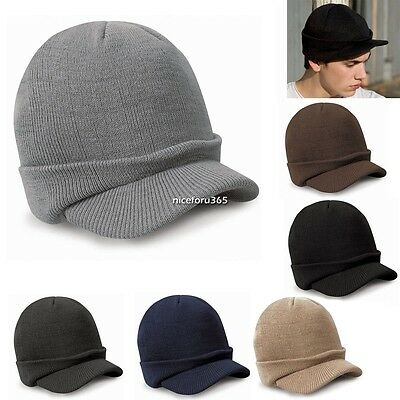 Unisex Women Men Knit Ski Beanie Slouchy Cap Hat Hip-Hop Winter Warm Peaked