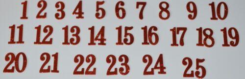 Red IRON ON Glitter 5cm DIY Advent Calendar Numbers 1-25
