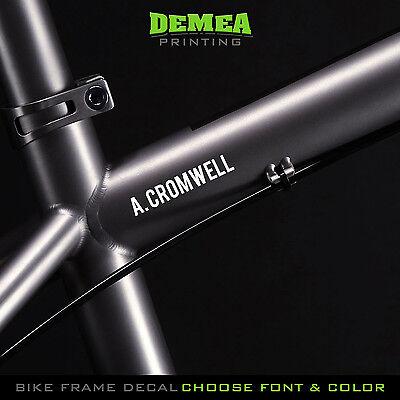 Custom Decal Lettering text Personalised Name number BMX MTB Bike Frame Forks T