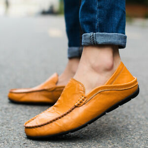 Plus-Size-Men-039-s-Flat-Slip-on-Leather-Loafers-Casual-Lazy-Driving-Moccasins-Shoes