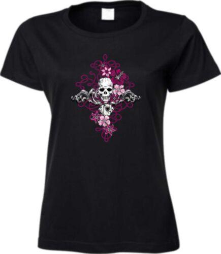 T Shirt in schwarz Totenkopf Gothik Biker-/&Tattoomotiv Modell Skull Roses
