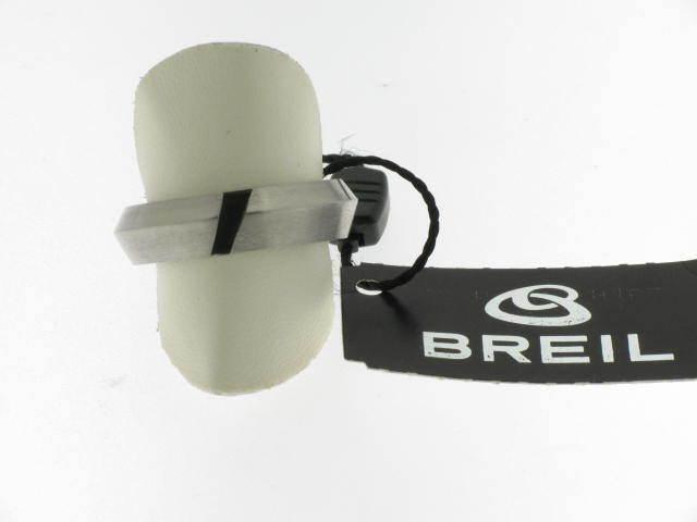 BREIL anello anello anello Rodster fascia acciaio inserto pelle nera referenza BJ0181 MIS.19 77aac8