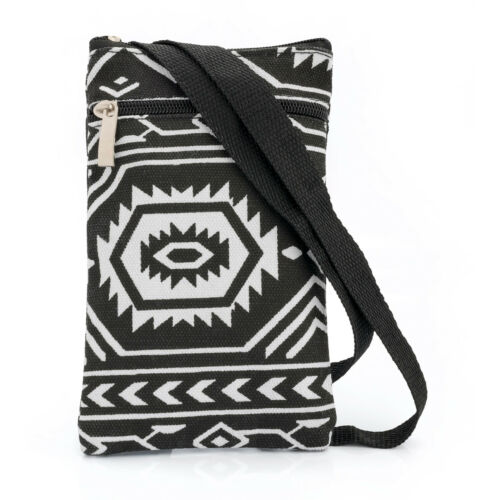 Black and White Stripe Cross Body Bag Messenger Ladies Zip Over Shoulder Handbag