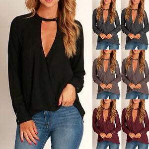 Women-Choker-V-Neck-Loose-Casual-Long-Sleeve-Tops-Casual-Blouse-Shirt-Black-USA