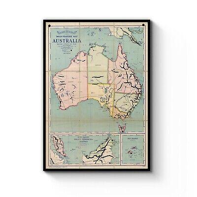 Australia Map Detailed.Vintage Map Of Australia Detailed Old Classic Art Print Poster A4 B1 Framed Ebay