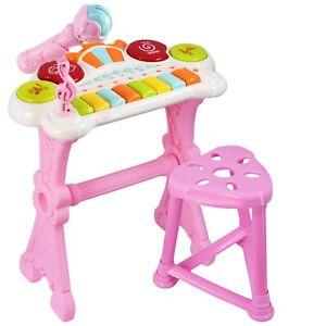 Details about Kids Electronic Keyboard Organ Piano Drum Set 8 Keys 15  Lights Microphone Stool