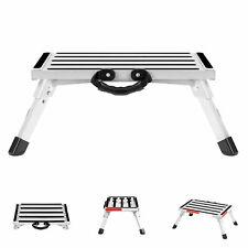 Aluminum Folding Platform Step Stool Rv Camper Ladder Reflective Stripe Withhandle