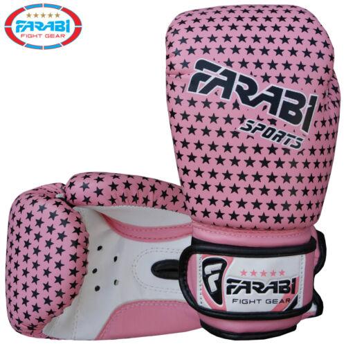 Farabi Junior Bambini Guanti Da Boxe 4 OZ ROSA TRAINING KICK BOXING PADS età 3-7