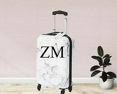 cabin size suitcase Marble effect personalised hard shell luggage