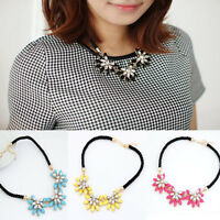 Fashion Jewelry Crystal Flower Necklace Choker Bib Statement Chunky Collar Chain
