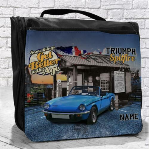 Personalised Triumph Spitfire Classic Car Vintage Travel Hanging Wash Bag Gift