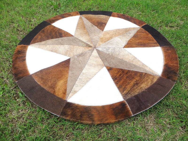 Star Cowhide Rug Cow Hide Skin Carpet Leather Round patchwork S83 area 40