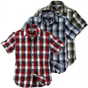 Carhartt-Herren-Hemd-Plaid-Slim-Fit-103010-Kurzarm-Kariert-Holzfaeller-Shirt-NEU