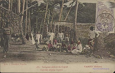 TAHITI INDIGENES SECHANT DU COPRAH NATIVES DRYING COPRAH ED. GAUTHIER