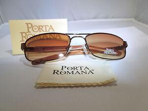 PORTA-ROMANA-Aviator-Style-Sunglasses-1605-300-RS-Bronze-Metal-Signature-Wood