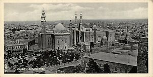 Vintage-Egypt-Postcard-Cairo-General-View-Panoramic-Bookmark-Style-BE4
