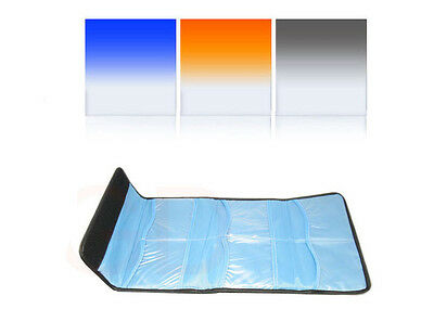 "3pcs 4""x4"" Gradual Blue Orange ND8 Filter kit 100x100mm Cokin Z Lee Hitech"