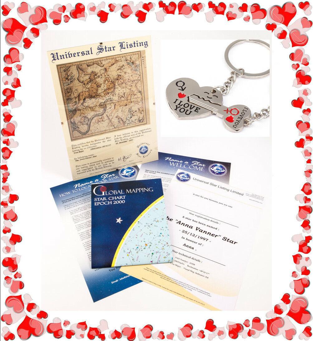 Nombre Un Estrella Personalizado Enmarcado día de San Valentín Regalo 💗 incluye los amantes Llavero 💗