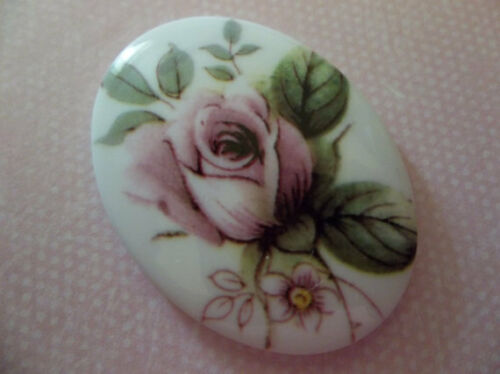 Qty 2 Vintage Pink Rose Cameos Chalkwhite Base German Oval 40X30mm Cabochons