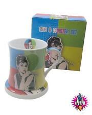 AUDREY HEPBURN RETRO POP ART COLOURS COFFEE MUG CUP AND COASTER SET NEW
