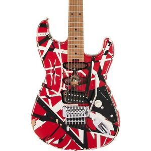 EVH Striped Series Frankie Guitar Red with Black and White Stripes Relic LN