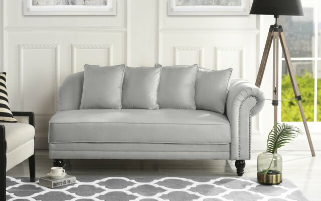 Superieur Light Grey Classic Velvet Fabric Living Room Chaise Lounge W/ Nailhead Trim