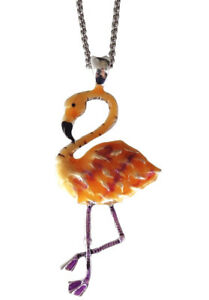 """Enameled Hand Painted Pink Flamingo Pendant Necklace 24/"""" Stainless Steel Chain"""