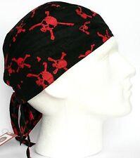 Da Uomo Aderente Bandana Zandana burqa Wrap facile tie nero rosso teschio ossa incrociate