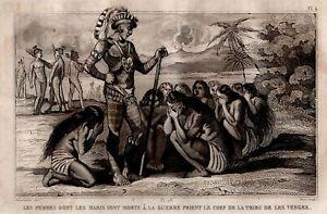 America-Chief-of-Tribe-Vengeance-War-Engraving-Original-19th