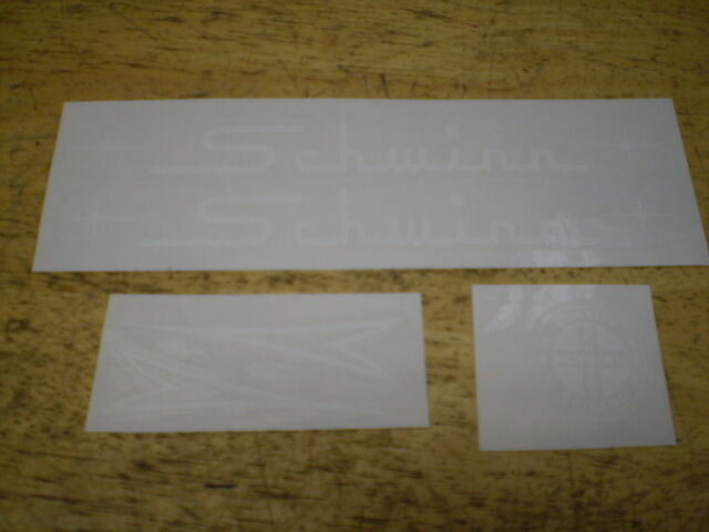 Schwinn Large Straight Script White Bicycle Peel & Apply Decal Set Breeze &