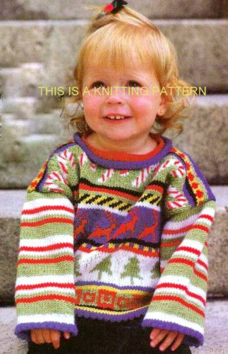 CANDY Cane-RENNA /& Xmas Tree Bambini Maglione A Maglia 2-6 anni