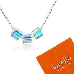 Silber-Multicolor-Kristall-Wuerfel-Halskette-Kette-aus-925-Sterlingsilber-Beutel