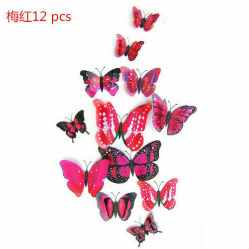 12 Pcs 3D Butterfly Wall Stickers PVC Children Kids Room Decal Home Decoration