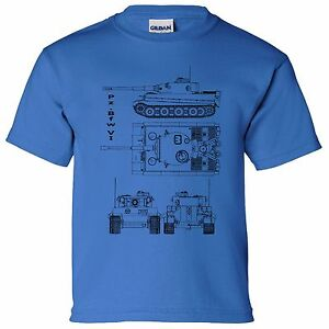 Pzw vi heavy tank blueprint boys kids t shirt thunder war game image is loading pz bfw vi heavy tank blueprint boys kids malvernweather Image collections