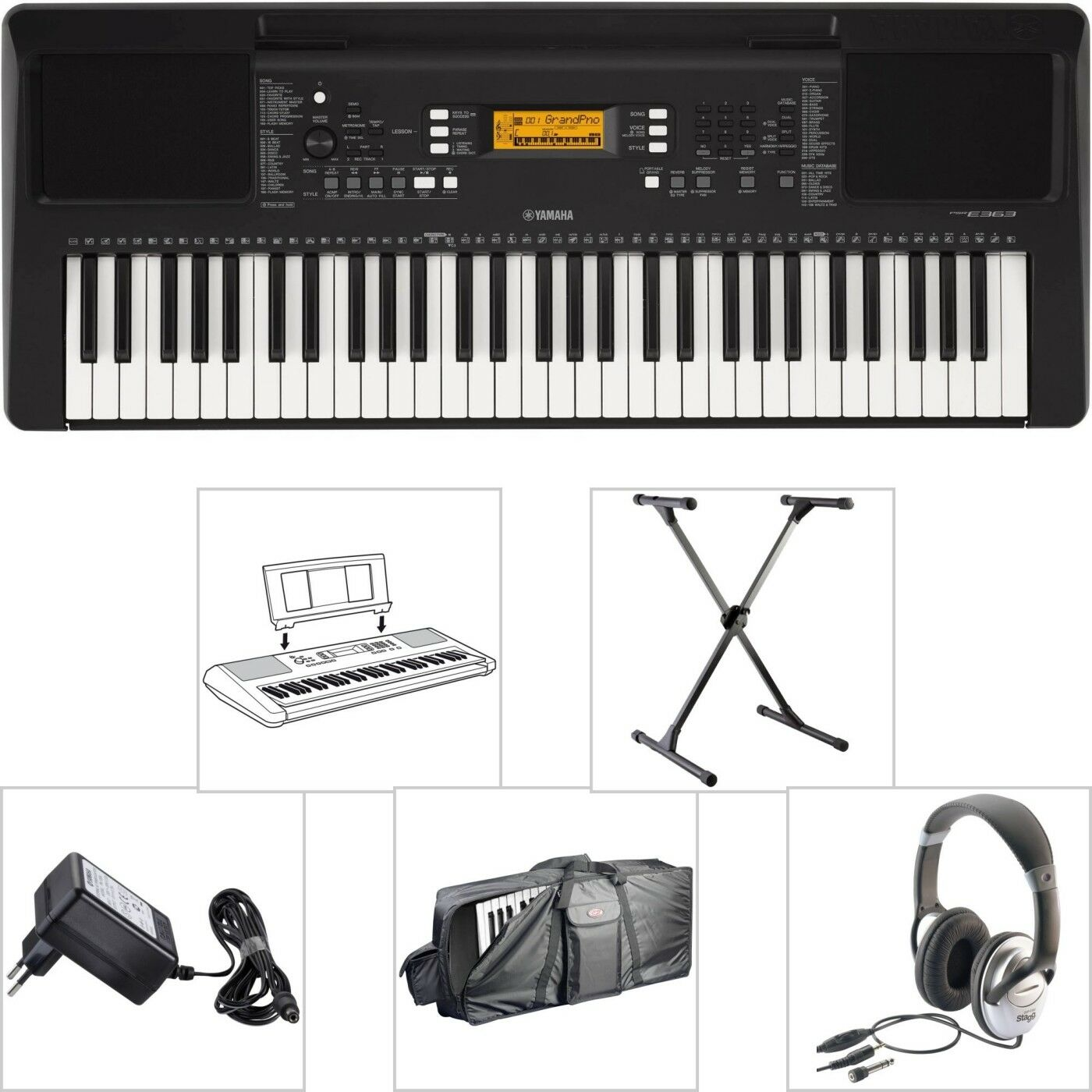 Yamaha PSR E363 Keyboard + Tasche + X-Stativ + Kopfhörer + Netzgerät + Notenpult