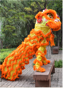 Details About Orange Lion Dance Mascot Costume Wool Southern Lion China Folk Art For Two Adult