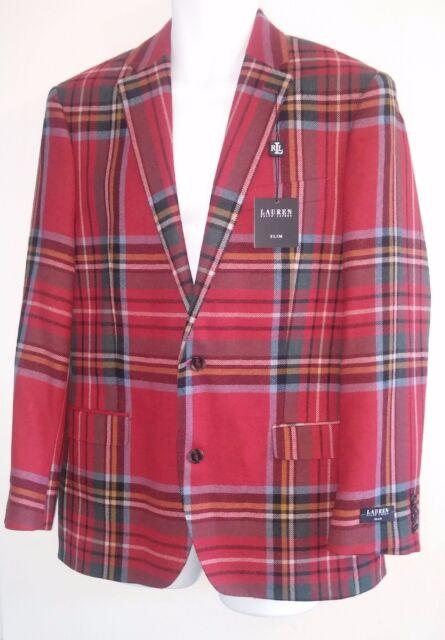 LAUREN RALPH LAUREN - Blazer Sport Coat Jacket - Red Tartan Plaid - Wool - 41R