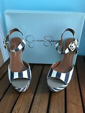 Jessica Simpson Heels Size 7.5 Denim/white Striped Brand New