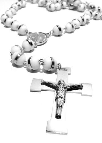 Rosario Collar de acero inoxidable caucho unisex Weiss color plata