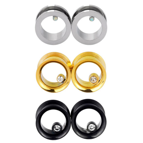 6pcs Set Stainless Steel Screw Flesh Tunnels CZ /& Opalite Ear Gauges Plug