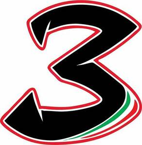 Motorbike Vinyl Decals Stickers Race Number 3 Italian Colours Motorcycle 88mm